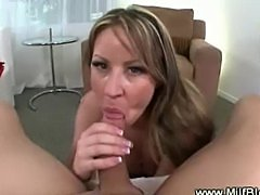 Milf in lingerie gives hot and wet blowjob