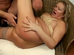 Busty Blonde Mature in Stockings Fucks and Footjob - xHamster.com