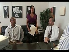 Busty MILF Lisa Ann fucks coworker in private to releave tension at work