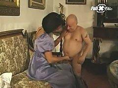 Maria Bellucci and a midget