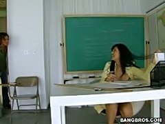Huge tits Milf Latina senorita deepthroat and banged in classroom
