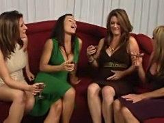 Four milf pornstars strip for sex scene