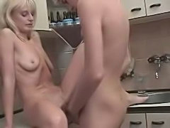 Russian Blond Mom Son at Kitchen