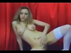 Milf webcam chick in stockings using toy