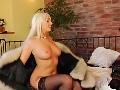 Anal shag for busty blonde in stockings