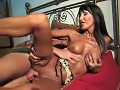 Brunette milf taking dick in her pussy hole