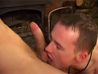 Two romantic guys fucking by the fireplace
