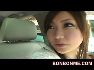 Mosaic; cute jap girl oral blowjob in car