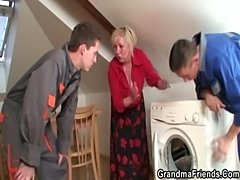 Two repairmen bang busty grandma from both ends  free
