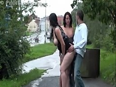 Risky public sex pregnant two girl threesome. awesome!  free