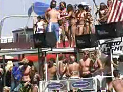 Naked girls playing and drinking at spring break