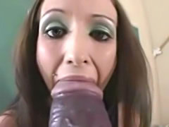 Horny schoolgirl fucking her pussy with a huge dildo