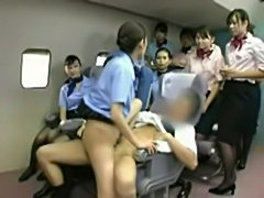 Asian stewardess banging the captain  free