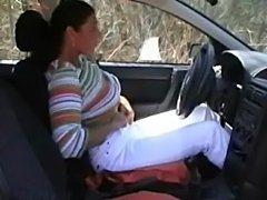 Great amateur couple gets wild on a car  free
