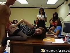 Office girls getting dirty with male striper
