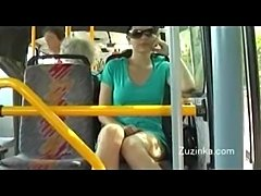 Brunette coed from Prague fingering her shaved pussy on the bus with people