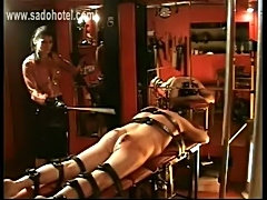 Brunette mistress in latex skirt hits tied up slave on his a free