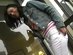 Pissing : she totally pees her white pants outside, really embaressing