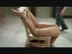 Babe bound upside down on a chair spanked and masturbated