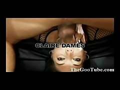 Claire Dames gets throat fucked and  sucks down and gags on hard cock...
