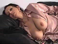 hot mature lady - sexy teas in satin pants an blouse - dancing and masturbating