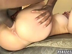 This cute snow bottoms is getting humped by a black dong! Her pussy was already dripping wet, and this huge thick cock stuffed her twat with chocolate cum!