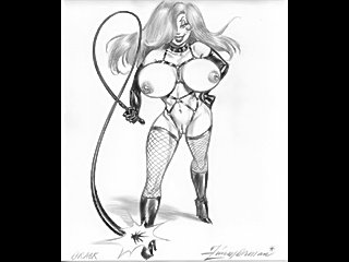 Perfect body women with massive breasts in lesbian bondage and made to suck down huge cocks sexual fetish artworks.