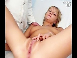 Blonde Faye visits old kinky gyno doctor who is gaping her pussy with speculum and fingering her to her real orgasm