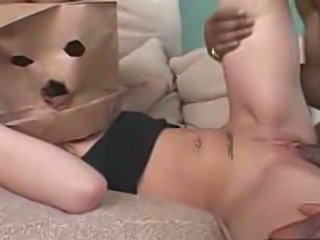Slut With Paper Bag On Face Blows 2 Black Cocks& Gets Fucked