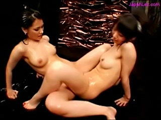 2 asian girls jelly on body rubbing their pussies in scissor free