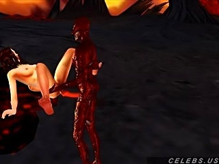 3D babe fucked by a daemon in hell