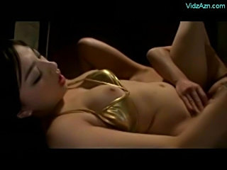 Asian girl in gold bikini licked sucking cock fucked on the  free