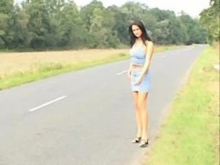 Green eyed brunette hitchhiker  free