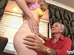 Old man nails this young sluts pussy hard
