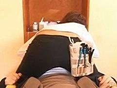 Japanese AV Model rubs her tits in the face of her customer