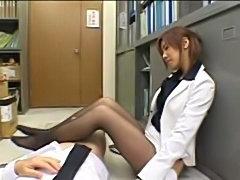 Japanese secretary handjob/footjob in pantyhose. Uncensored