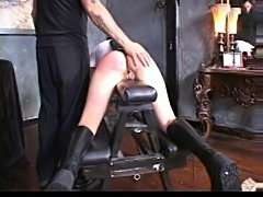 He spanks her ass and her inner thighs