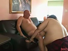 Brunette BBW loves this sex session with horny bald dude!