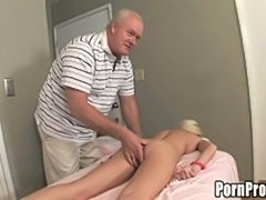 Young blonde slut rides old man cock