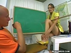 Big boobed cute face teacher gets a messy facial from student
