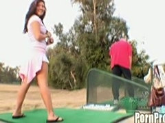 Old golf geezer pound the shit out of asian teen slut!