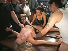 Brutalized girlfriend public fucked in crowded bar
