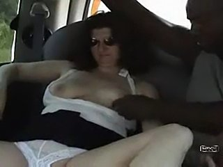 slutwife sucks bbc in backseat of car
