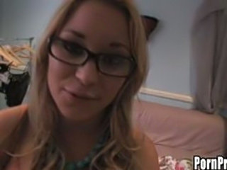 Nerdy blonde whore gets fucked on cam!