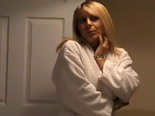 Blonde milf strips