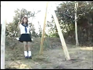 Japanese Teen picked up from playground on swing. Dildoed till squirt and fucked till creapied.