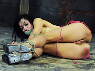 Hogtied amateur slut loves to suffer