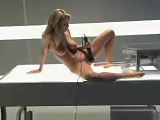 Sammie Rhodes doing anal with dildo machine
