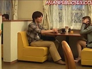 Asian Public Sex At a Restaurant.. girl seems desperate
