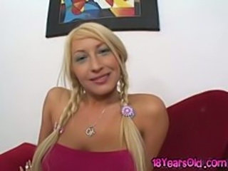 Busty blonde pigtails jailbait Candy Manson ball licking and fucking you cowgirl